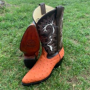 Men's Cowboy boots ostrich print cowhide leather